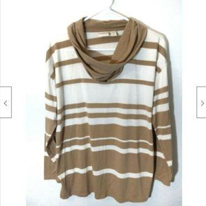 Chicos 3/4 Sleeve Striped Top Brown Cream Sz 1